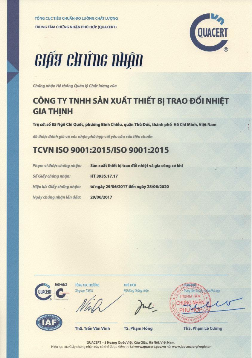 CÔNG TY TNHH SẢN XUẤT THIẾT BỊ TRAO ĐỔI NHIỆT GIA THỊNH ĐẠT CHỨNG NHẬN ISO 9001:2015