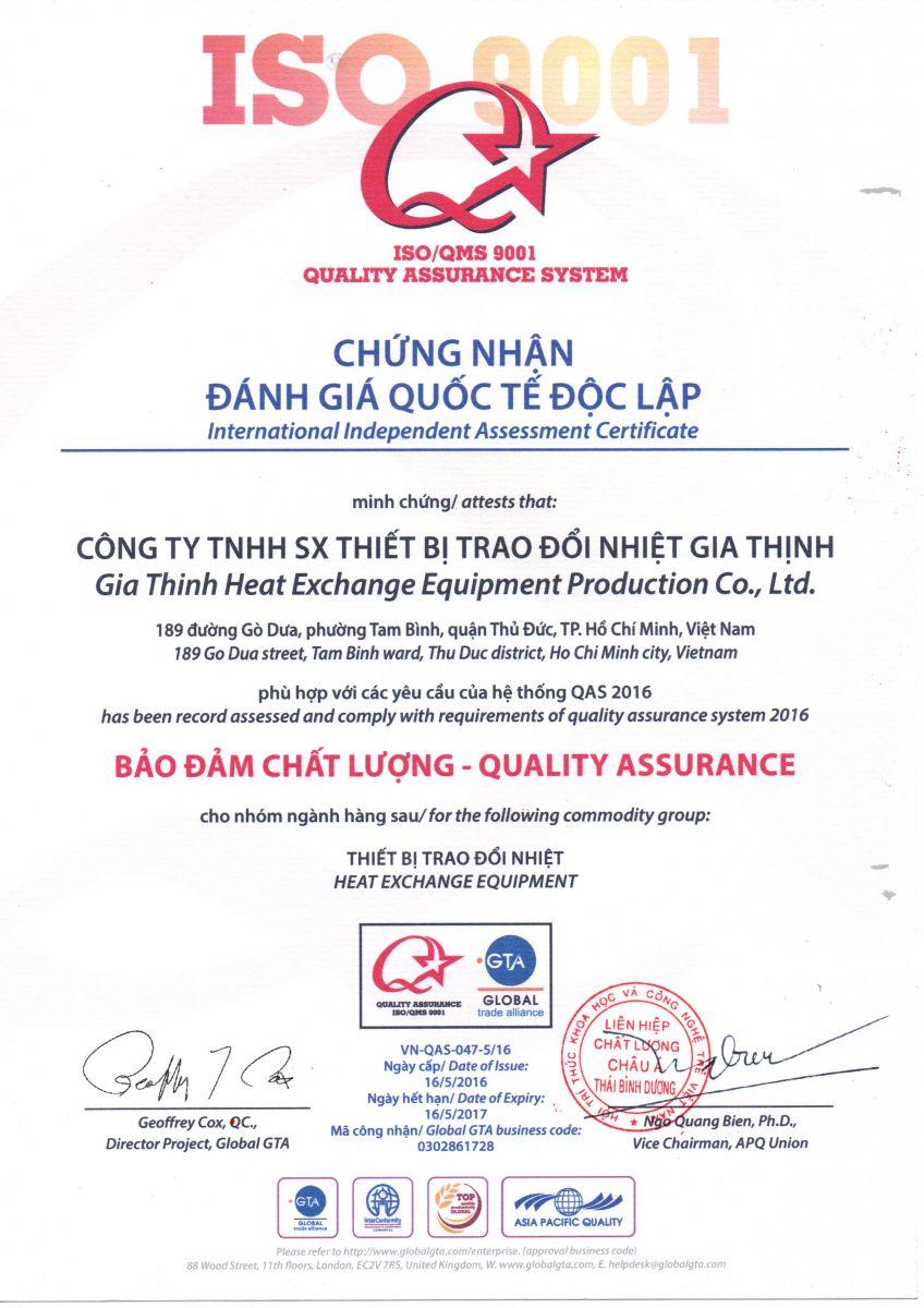 CÔNG TY GIA THỊNH đạt chứng nhận ISO/QMS 9001
